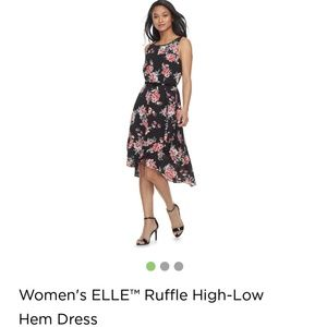 Elle high low dress.  Belted. Floral. Adorable.